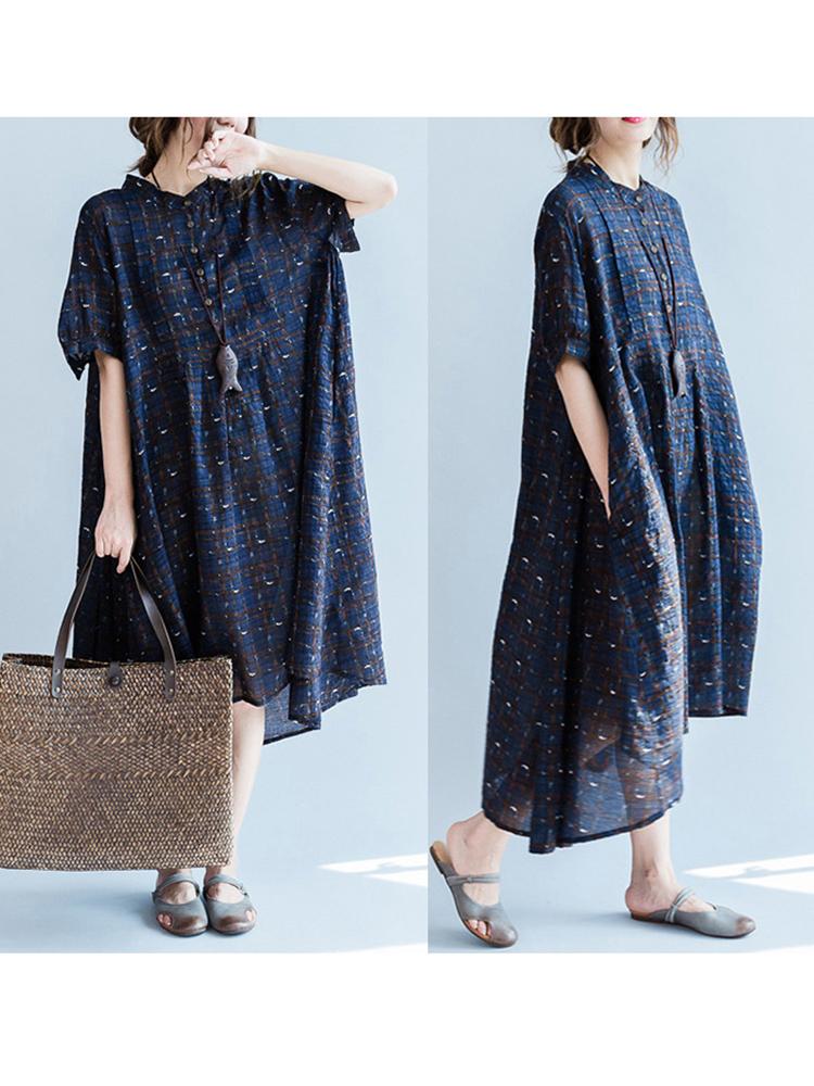Loose Women Printed Dress Cotton Blend Short Sleeve Bottons Dresses