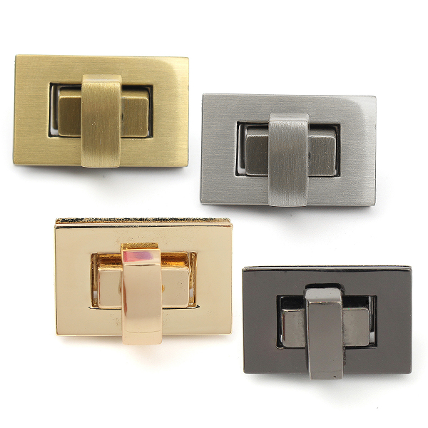 DIY Rectangle Shape Clasp Turn Twist Metal Lock Buckle for Handbag Bag Purse