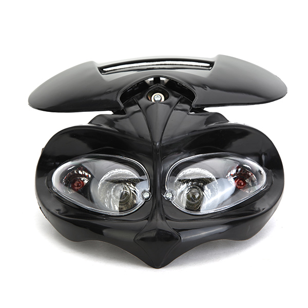 12V 35W Motorcycle New Head Light Fairing Sport Led Lamp Lighting Street Fighter Black H/L Beam