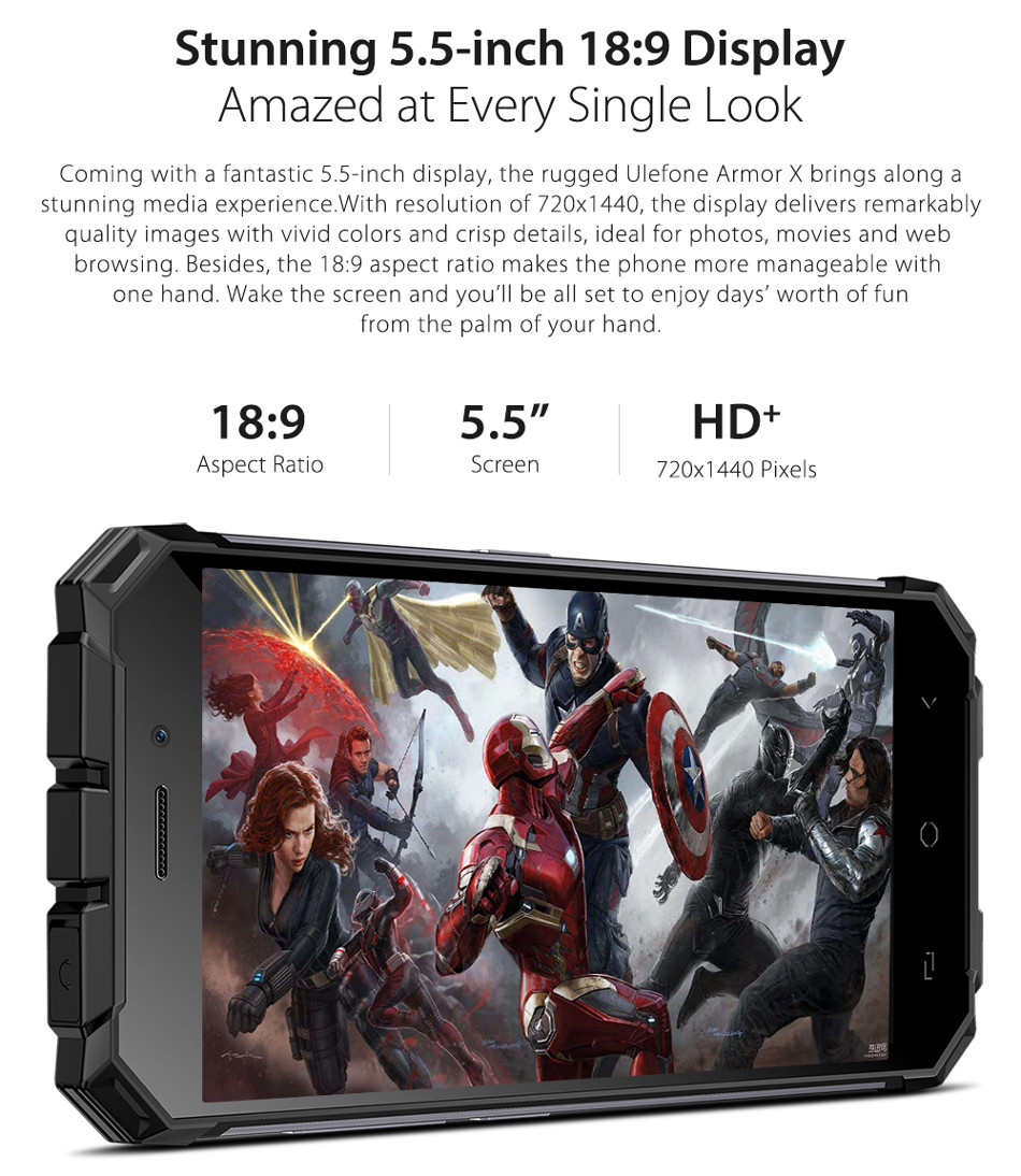 Ulefone Armor X 5500mAh IP68 NFC Wireless Charge 5.5 Inch 2GB 16GB MT6739 Quad core 4G Smartphone