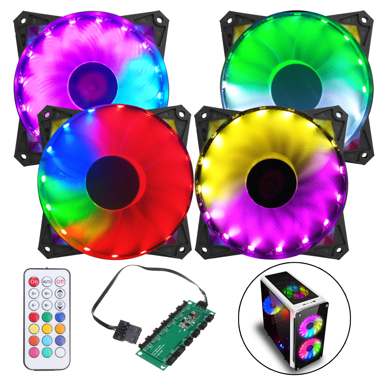 Coolmoon 4PCS 120mm Adjustable RGB Led Light PC Case Cooling Fan with Remote Control