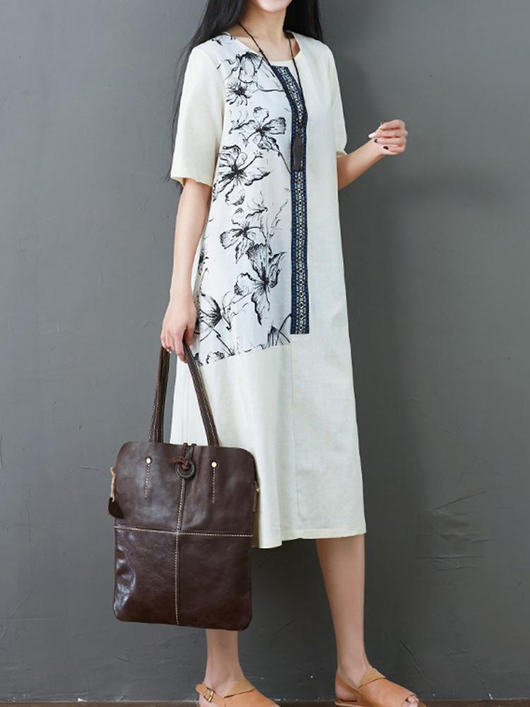Folk Style Floral Print O-neck Short Sleeve Dress