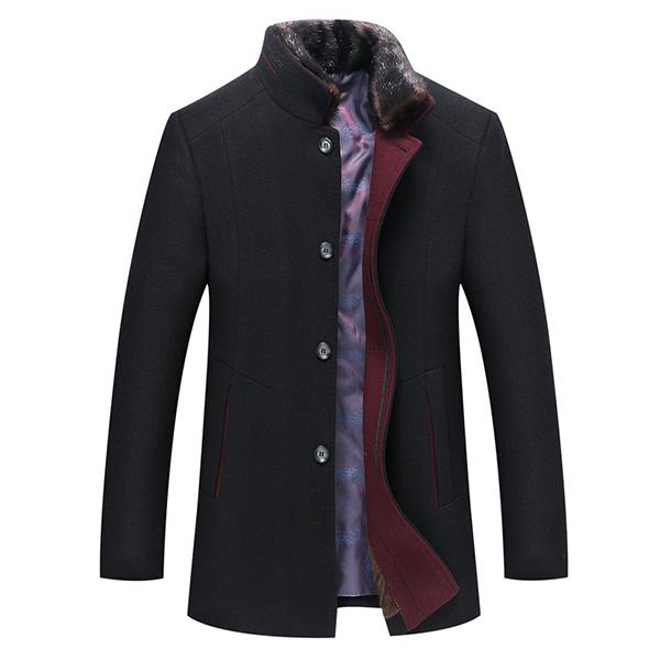 Mens Slim Fit Fur Stand Collar Woolen Blend Warm Jacket Single-breasted Business Coat