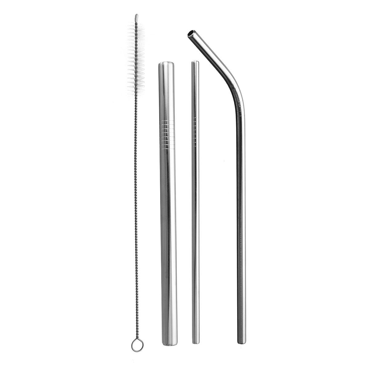 5 Pcs Stainless Steel Straw Cleaning Brush Metal Reusable Friendly Drinking Straws 215mm With Bag