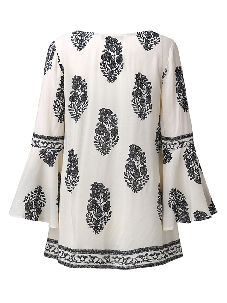 Bohemian Floral Print Bell Sleeve Blouse