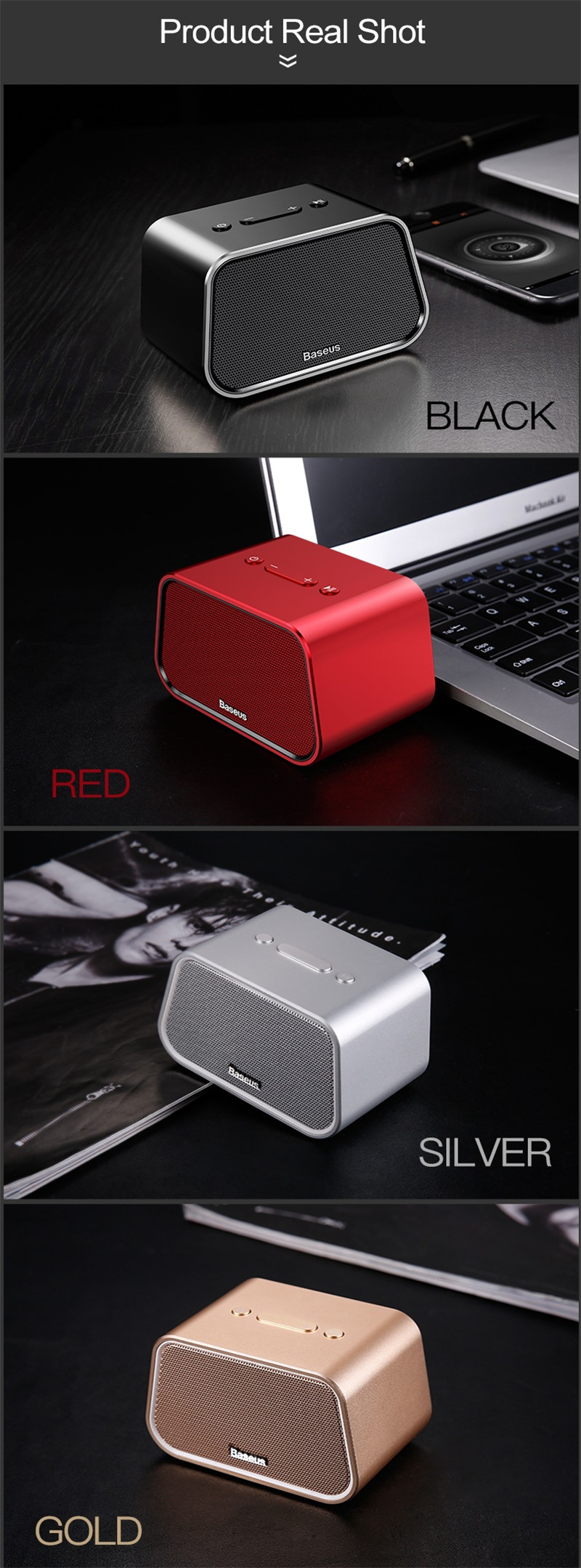 Baseus Encok E02 Mini Portable Trapezoid 1500mAh Wireless bluetooth V4.2 Speaker Audio TF Card