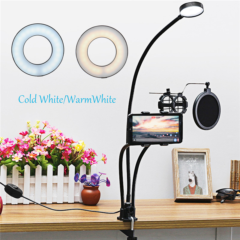 Universal 3 in 1 Live Stream Fill Light Microphone Stand Phone Holder for iPhone Xiaomi Cell Phone