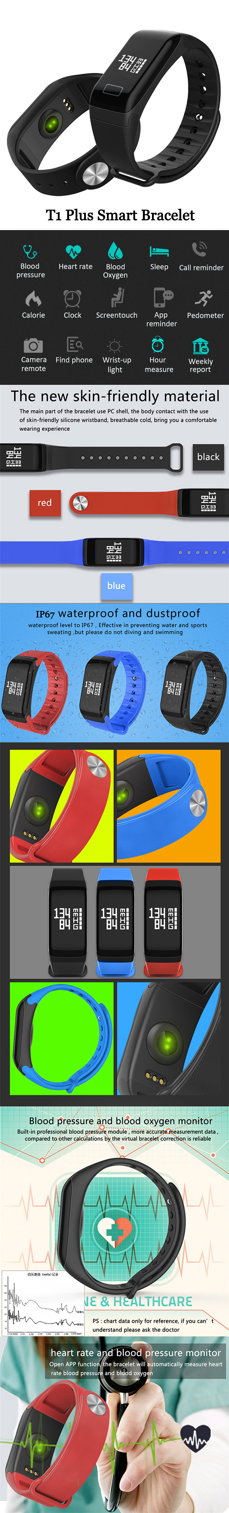 Xanes T1 066 Oled Ip67 Waterproof Heart Rate Blood Pressure Xiaomi 042ampquot Screen Mi Band 2 Smart Wristband Replace Black Shipping Methods