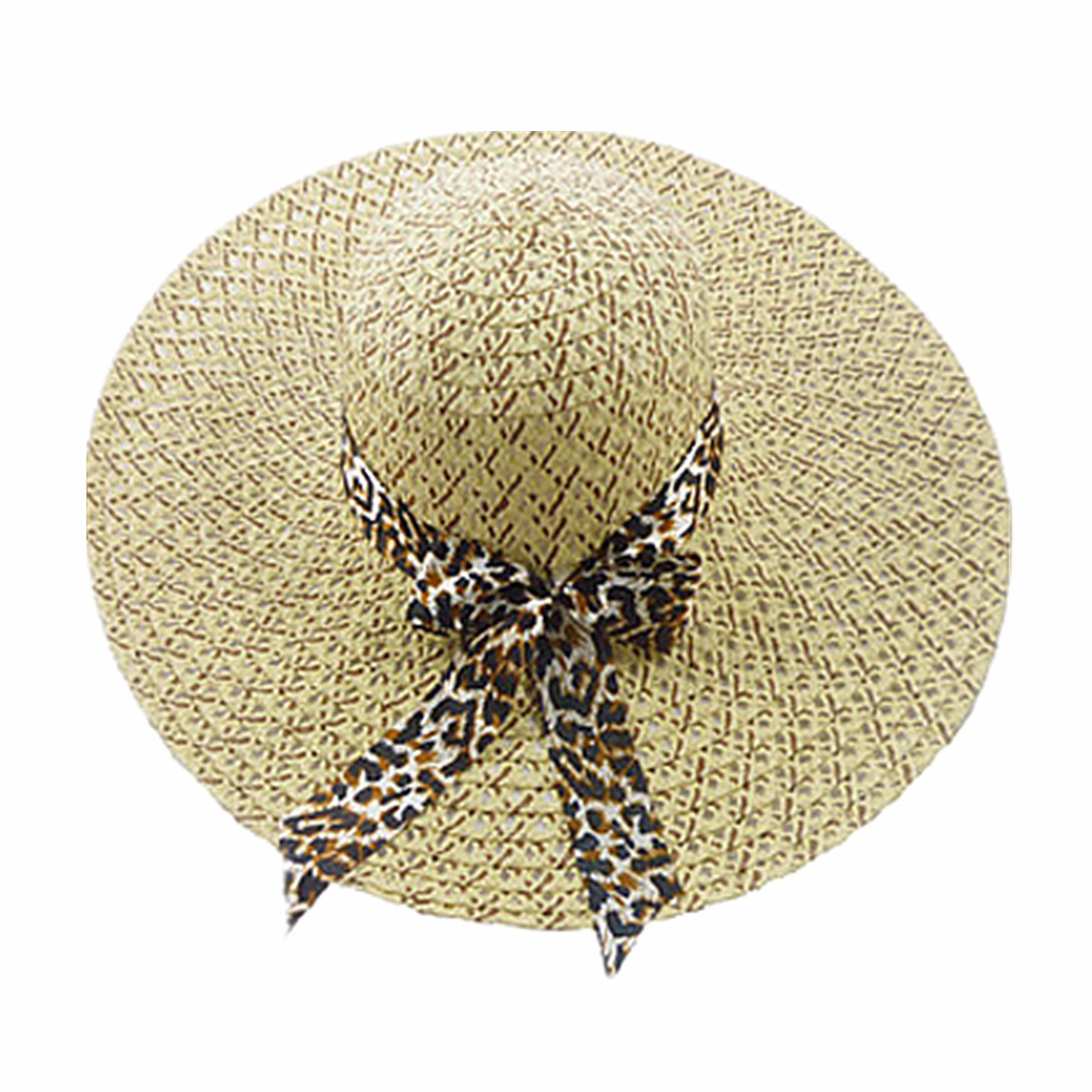 Women Girls Wide Brim Summer Hollow Beach Hat Bowknot Sun Straw Floppy Beauty Cap