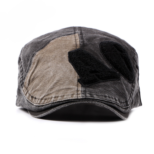 Fashion Men Washed Cotton Letter Beret Cap Casual Buckle Adjustable Peaked Hat