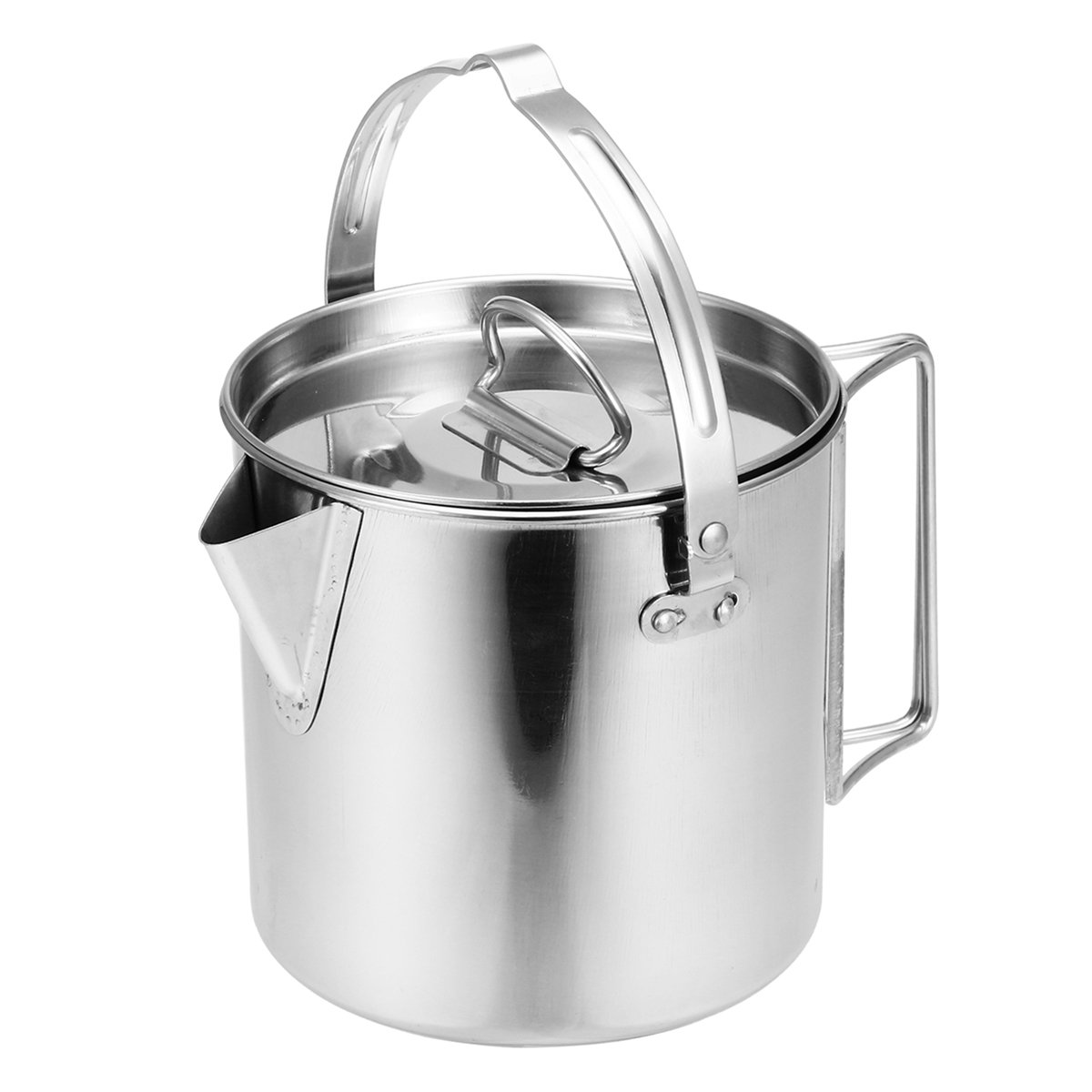 1.2L 410 Stainless Steel Hanging Pot Outdoor Tea Kettle Camping Picnic Cookware