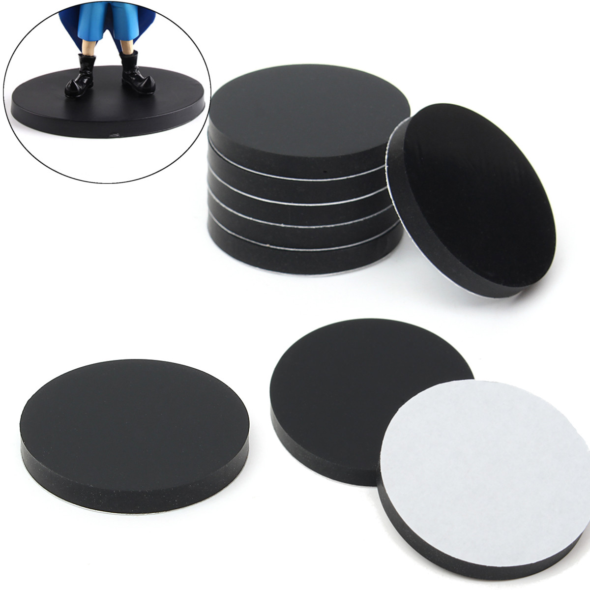 20Pcs 32mm Round Black Silicone Oval Model Bases Support for Wargames Table Games