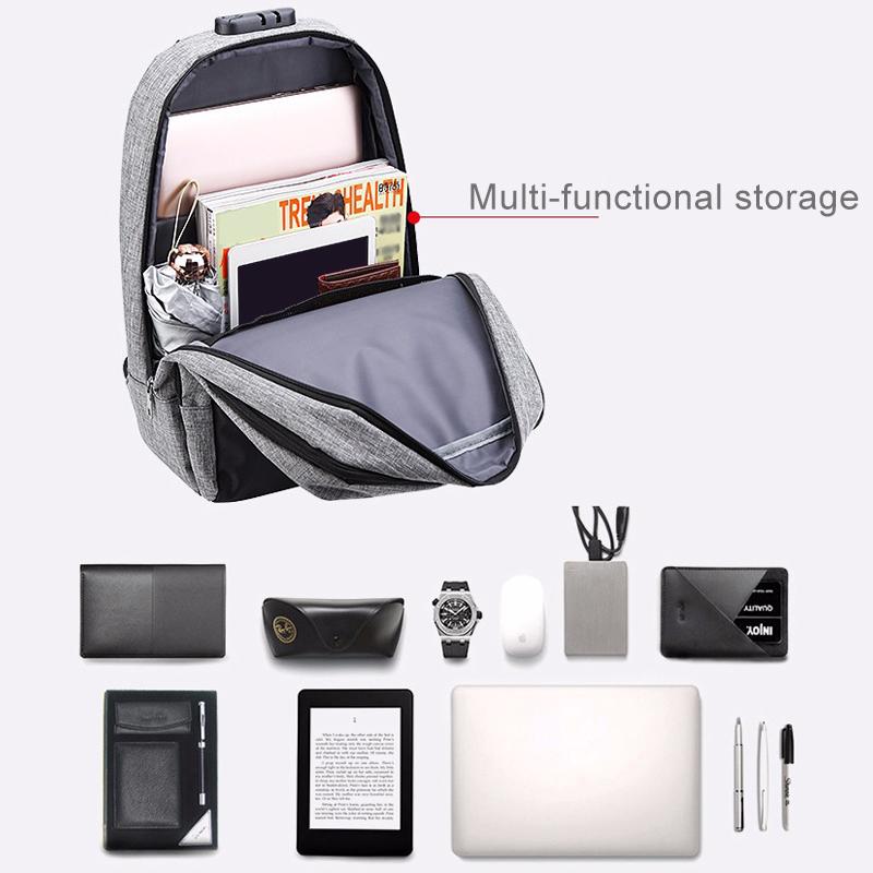 Men Boys Backpack Rucksack With USB Port Headphone Hole Travel Hiking School Bag
