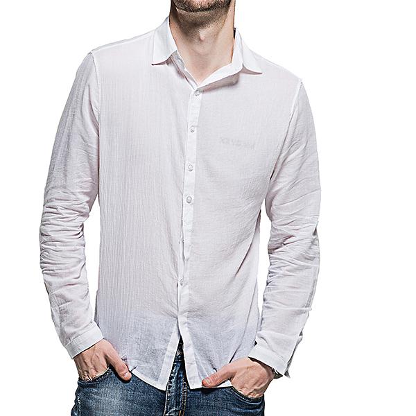 Linen Comfy Plain Pure Color Lapel Long Sleeve Men Shirts