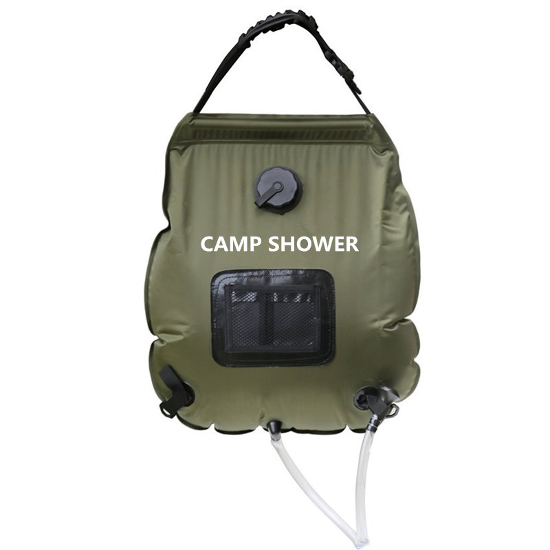 20L Folding Water Shower Bag Outdoor Camping Hiking Self Driving Tour Solar Heating with Thermometer