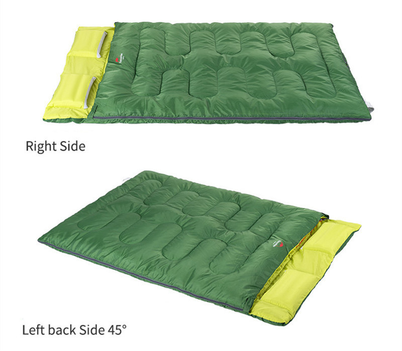Naturehike 2 Person Camping Sleeping Bag Portable Cotton Sleeping Bag With Inflatable Pillow