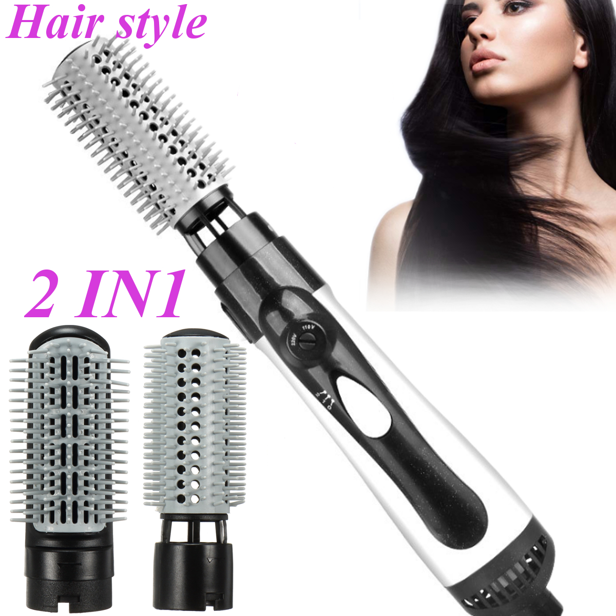 2 in 1 Hot Air Brush Hair Straightener Curler Hairdryer