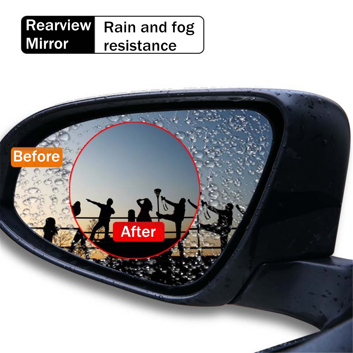 2Pcs Car Waterproof PET Anti-fog Rearview Mirror Side Window Soft Protective Film Transparent