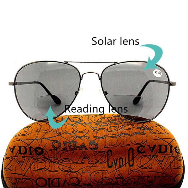Retro Dual-Use Sunglasses Reading Glasses with Case