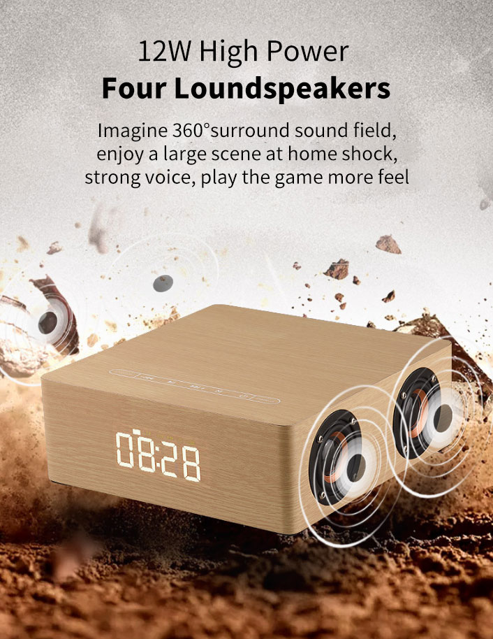 Back To Search Resultshome & Garden Wooden Bluetooth Alarm Clock Speaker 3600mah Battery Support Audio Input Tf Card Carefully Selected Materials