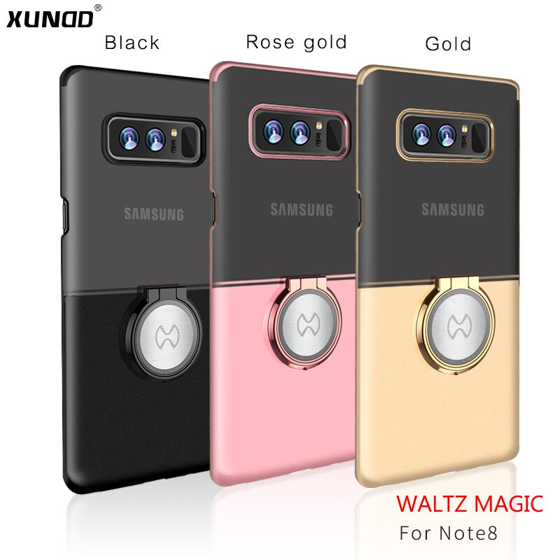 Xundd Metal Ring Holder Two-colors HD Plating Hard PC Protective Case for Samsung Galaxy Note 8