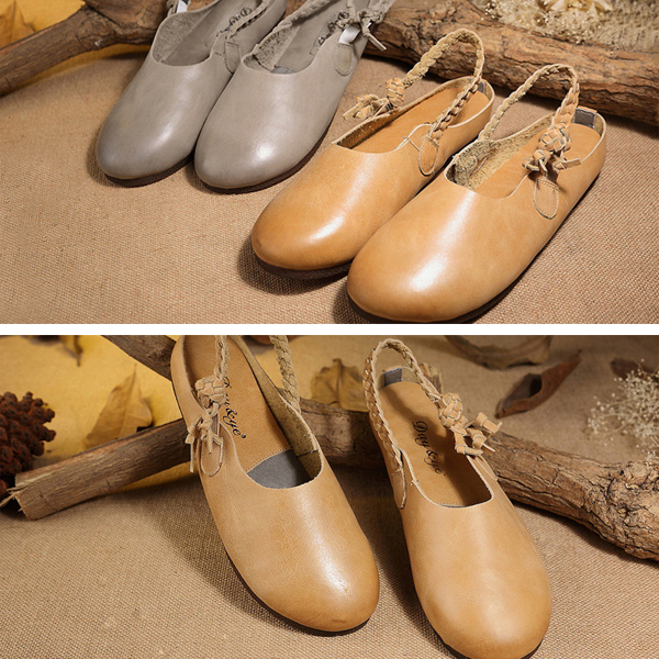 SOCOFY Genuine Leather Pure Color Elastic Band Soft Slingback Flat Shoes