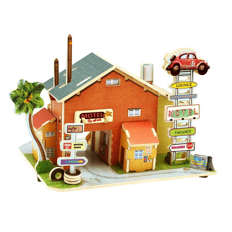 3D Wood House Puzzle New Year Gift DIY Model Kids Toys Romantic French Style Hand Made Toy