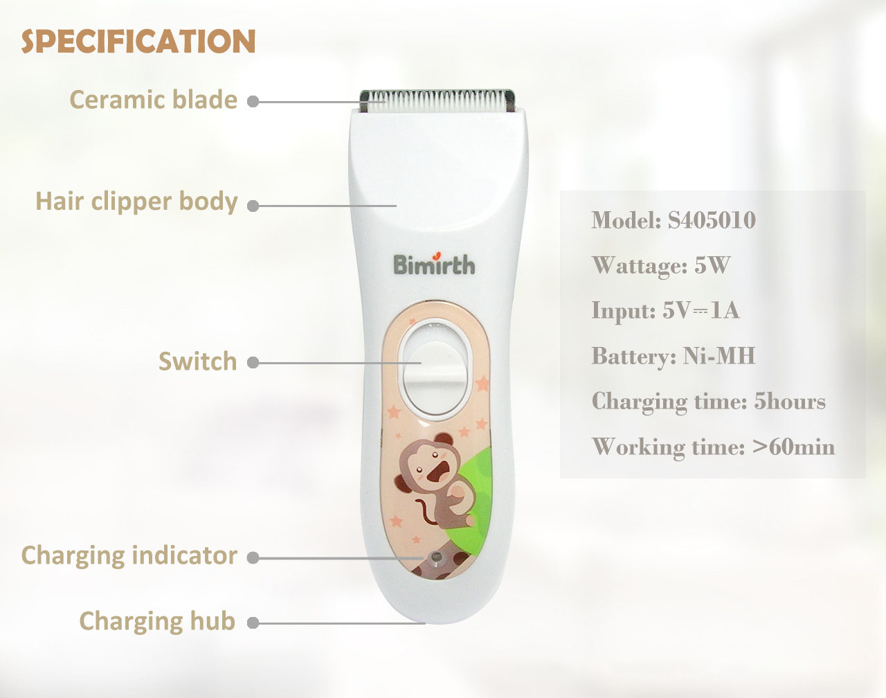 Bimirth Baby Kid Hair Clipper Usb Electric Hair Trimmer Adjustable Waterproof Clipper Rechargeable Quiet for Baby Child Adult Haircut