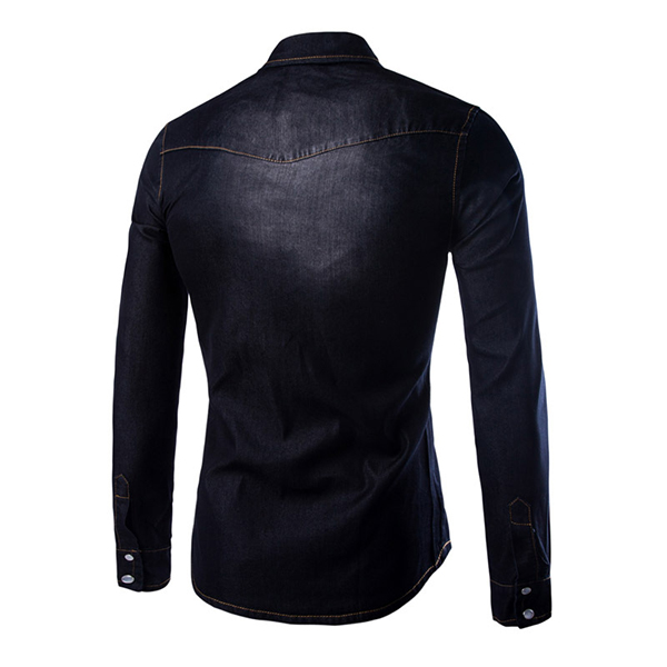 Mens Fashion Autumn Long Sleeve Personality Denim Turn-down Collar Casual Shirt