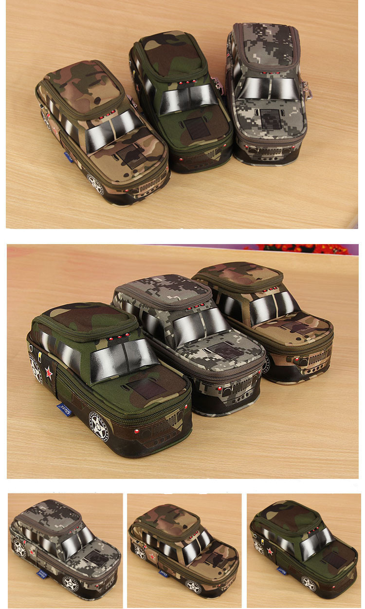 Creative Camouflage Jeep Bag Off-Road Car Tank Pen Bag Box with Coded Combinat For Kids