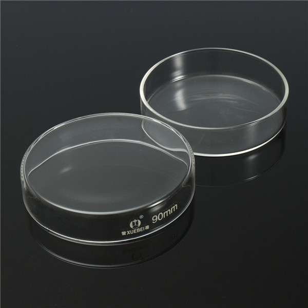 5Pcs 90mm Clear Glass Petri Dish Culture Plate With Lid Lab Glassware