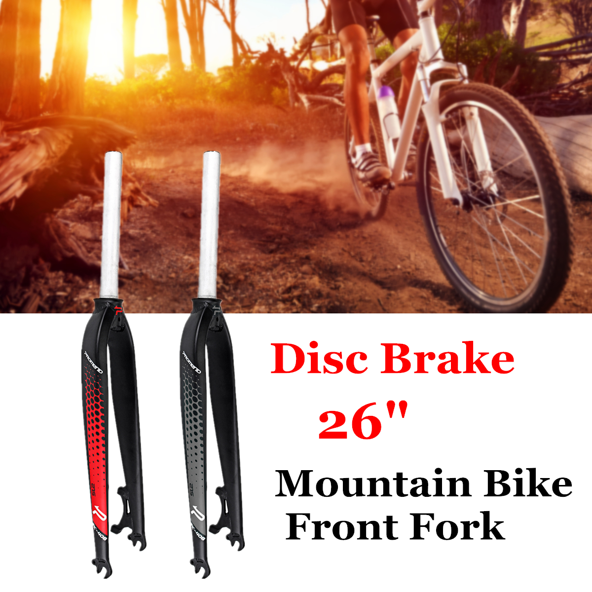 BIKIGHT 26'' Aluminum Alloy MTB Mountain Bike Cycling Bicycle Brake Disc Front Fork