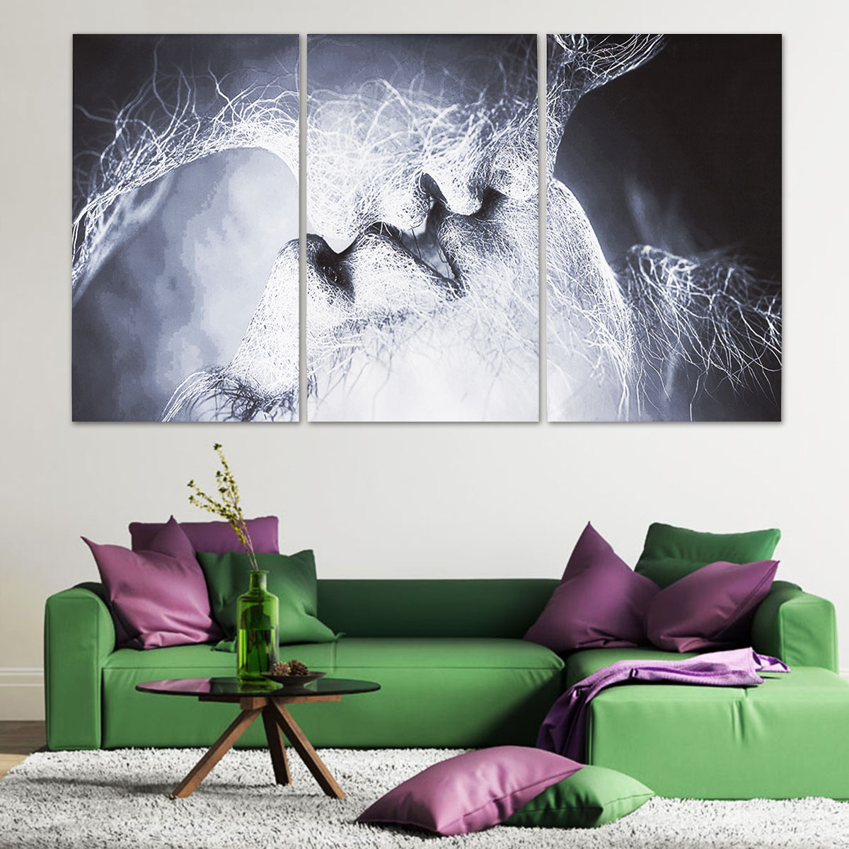 3Pcs Love Kiss Abstract Canvas Print Paintings Pictures Home Wall Decor Unframed