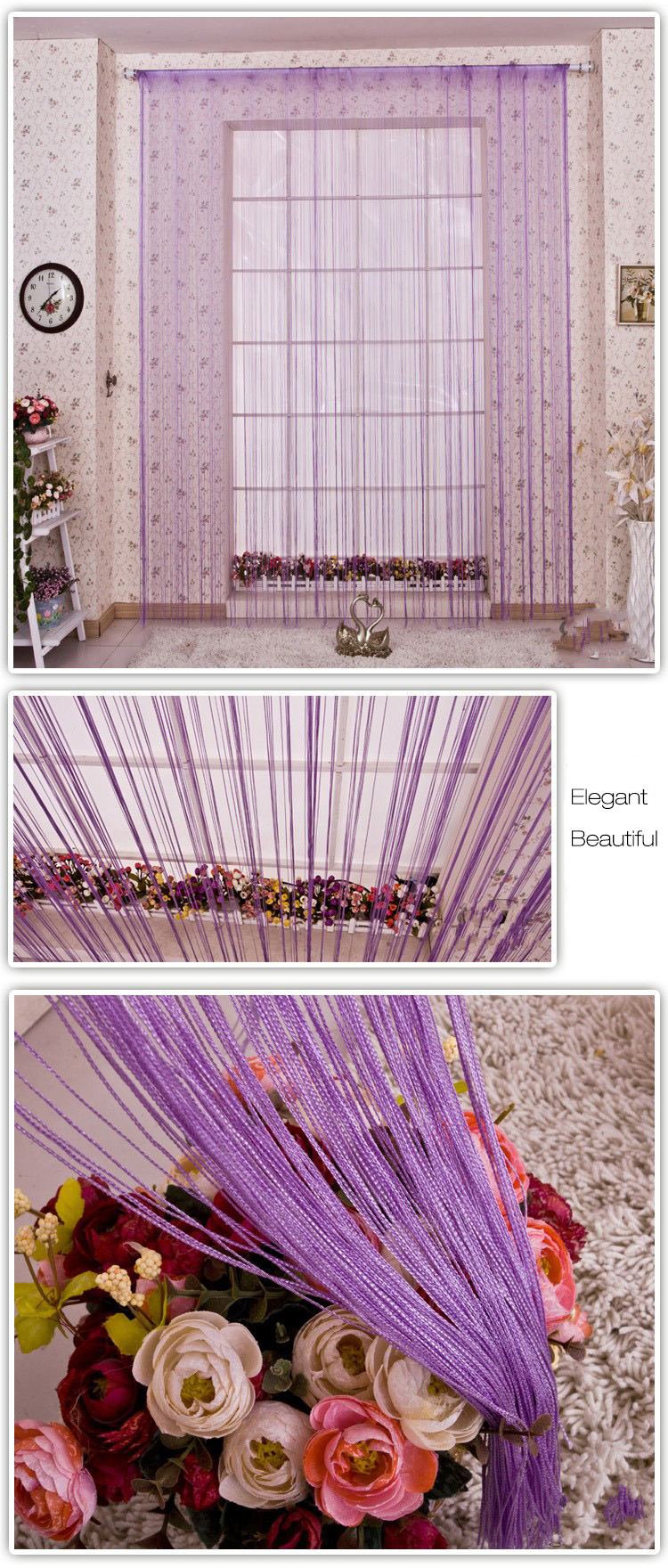 Honana WX-C5 1mx2m String Curtains Door Window Panel Divider Yarn Line Tassel Curtaion Drape Home Decor