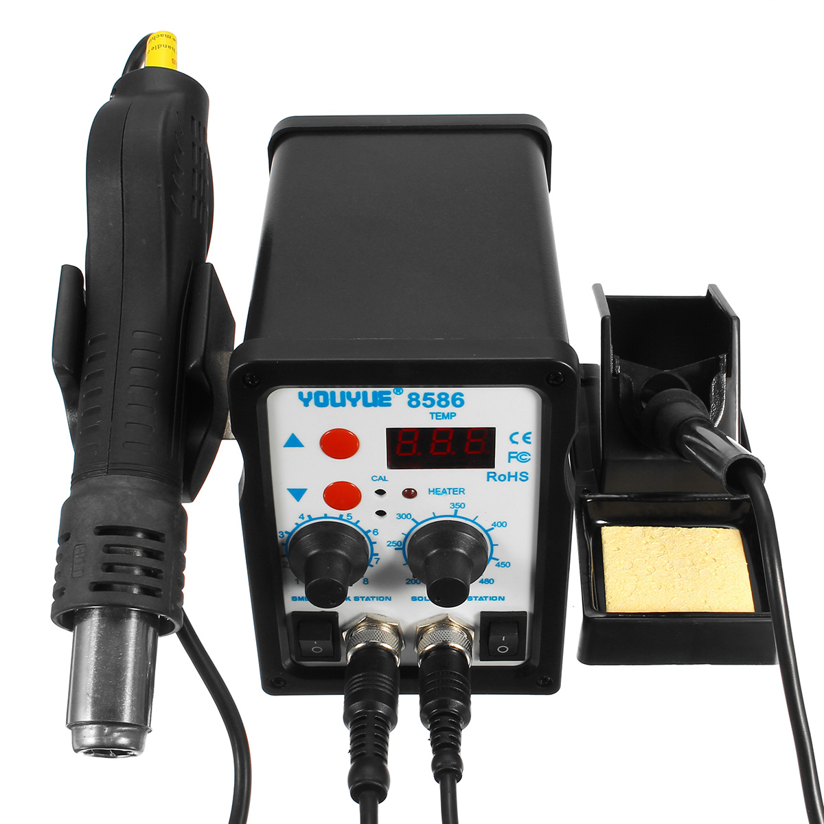 YOUYUE 8586 2 in 1 SMD Rework Soldering Station Hot Air Gun + Solder Iron Tool