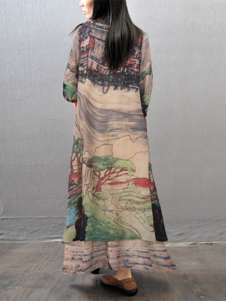 Vintage Printed Layered V-neck Women Maxi Dresses