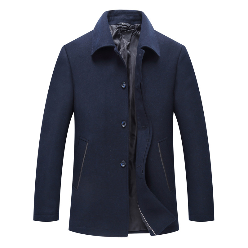 Mens Business Woolen Coats Turn-down Collar Casual Jacket