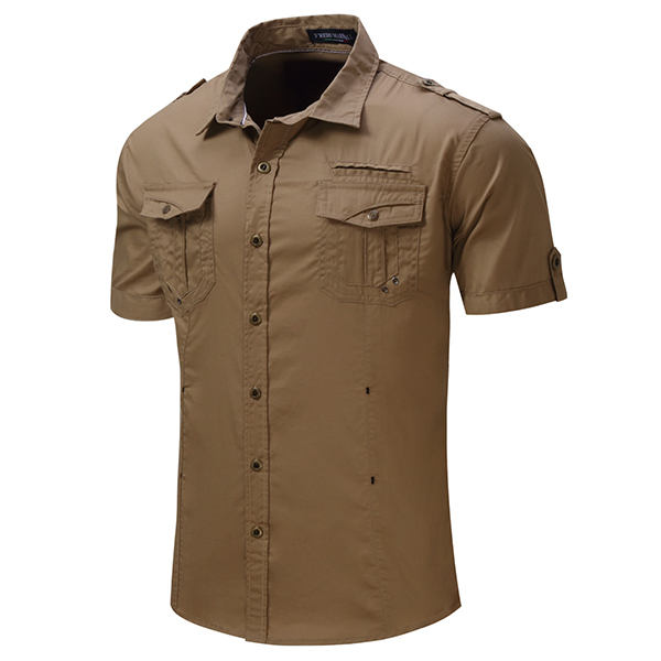 Mens Outdoor Washed Cotton Cargo Solid Color Double Pockets Short Sleeve Shirts