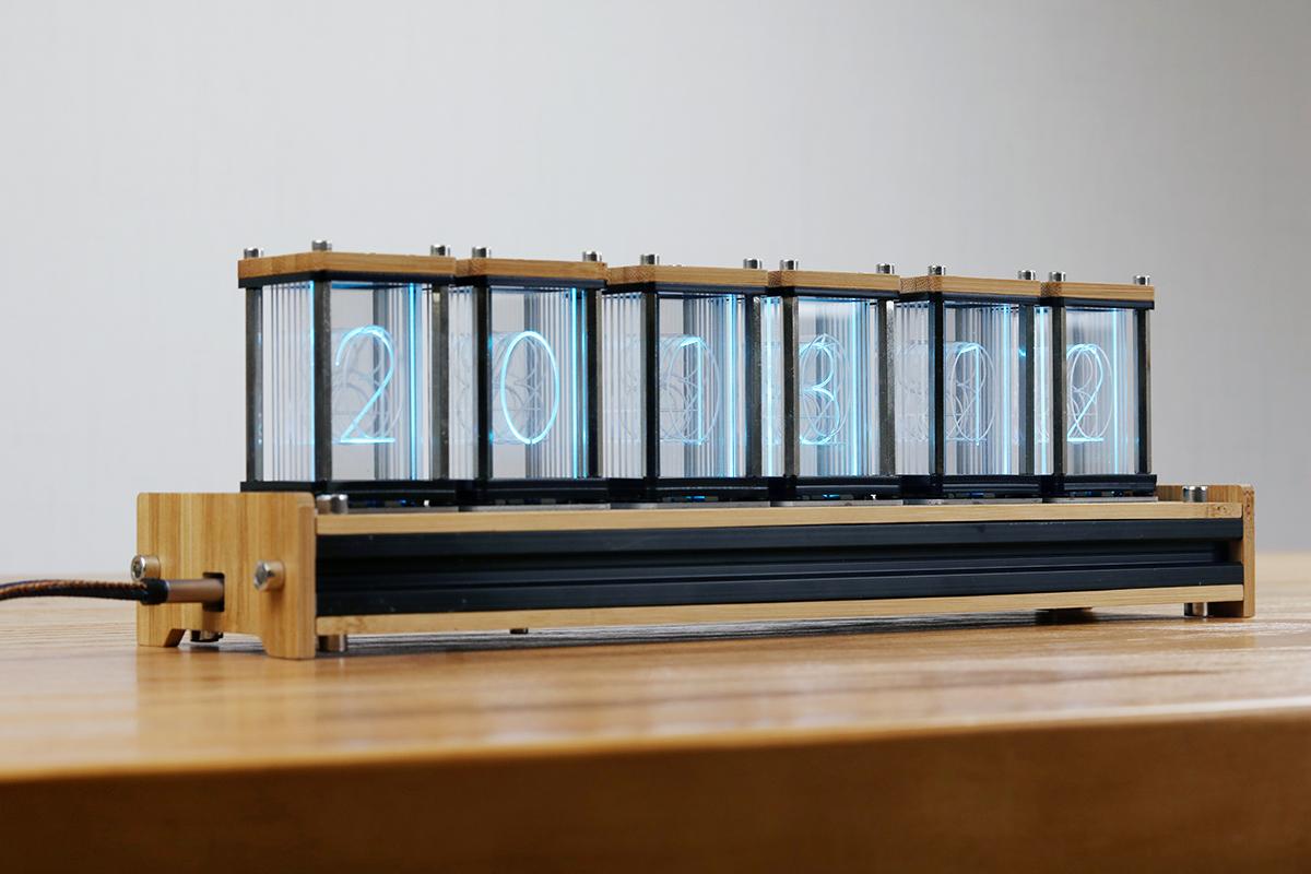 EleksMaker® EleksTube Bamboo 6-Bit Kit Time Electronic LED Luminous Glow Tube Clock Time Flies Lapse
