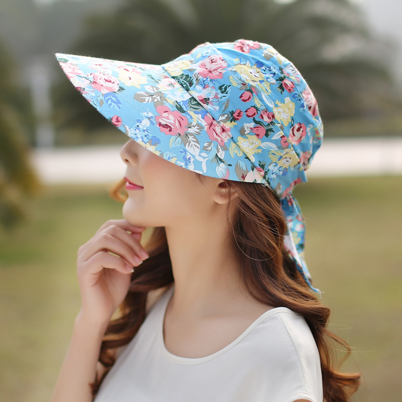 Women Ladies Summer Outdoor Anti-UV Beach Sunscreen Sun Hat Flower Print Wide Brim Caps