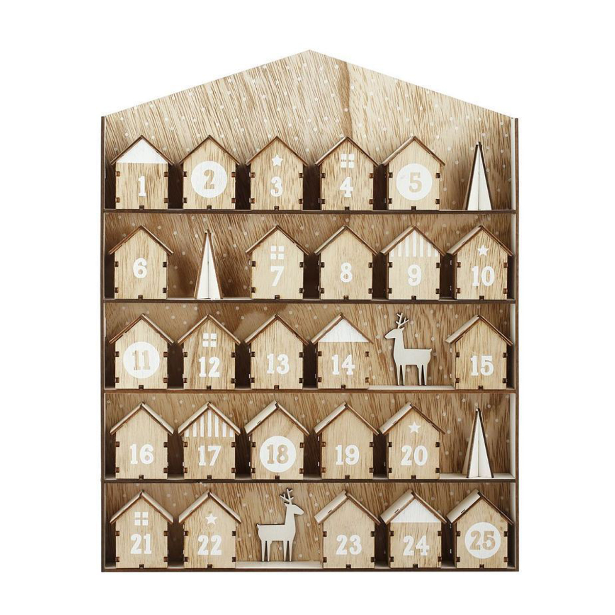 Wooden Hanging Decorations Christmas Advent Calendar Elk House Fit 25 Chocolates Stand Decor Gifts