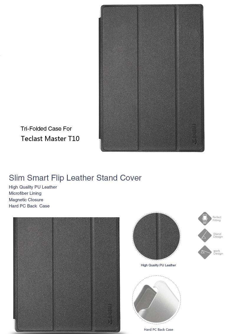 PU Leather Case Folding Stand Cover for 10.1 Inch Teclast Master T10