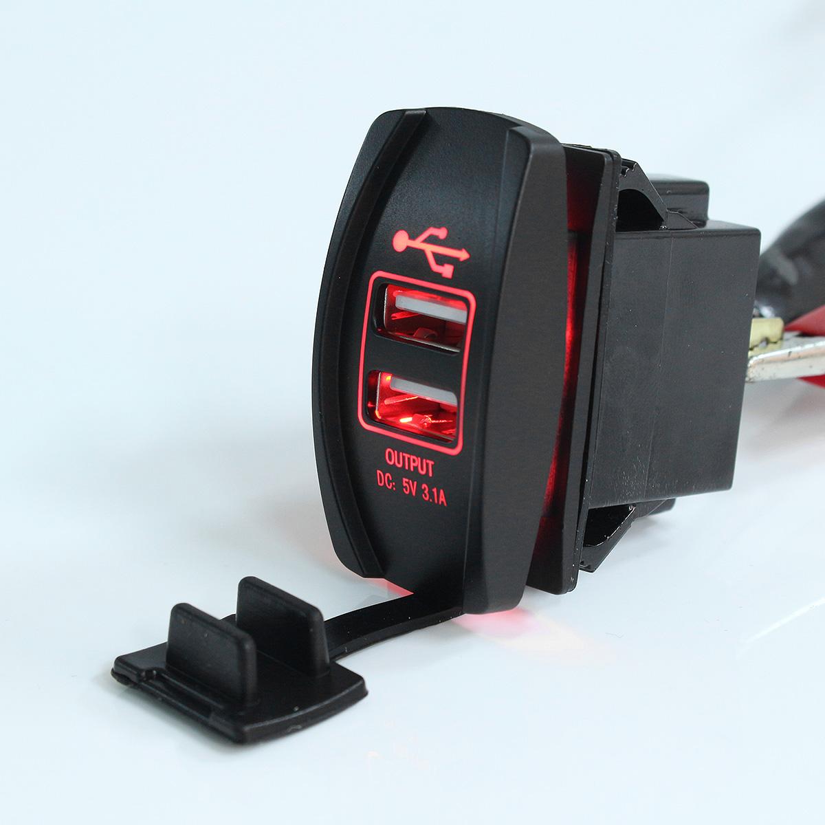 12V 24V Red LED Dual USB Charger Backlit UTV Rocker Switch For Motorcycle Car Truck Boat