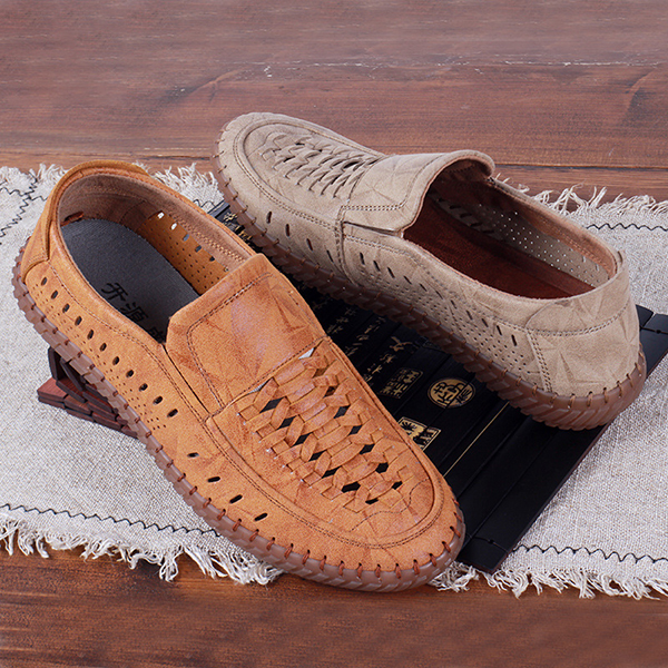 Men Casual Comfy Woven Style Suede Leather Soft Sole Loafers
