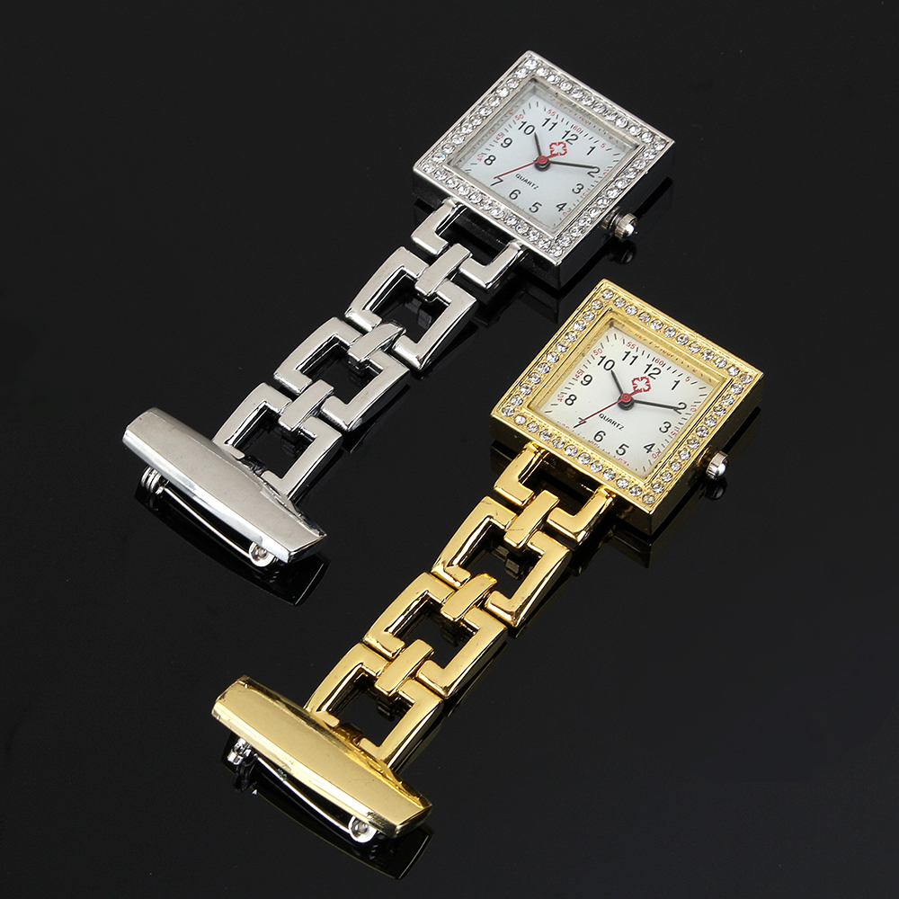 Crystal Square Nurse Watch Stainless Steel Quartz Watches