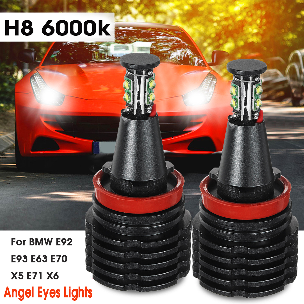 80W H8 LED Angel Eyes Lights Halo Fog Bulbs CANBUS Error Free White for BMW E92 E93 E63 E70 X5