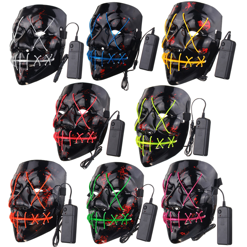 Black Different Light Colors Halloween LED Mask Face Fancy Costume Party Creepy Toys