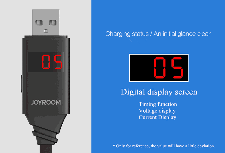Original Joyroom Universal Smart LED Digital Display 1M/3.3FT Micro USB Cable For Samsung