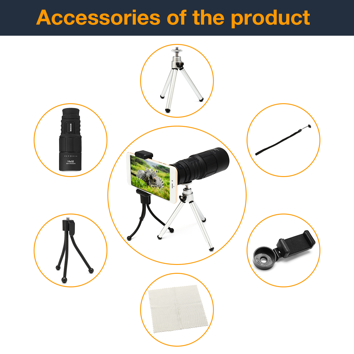Super Clear 16x52 HD BAK4 Dual Focus Telescope Optics Zoom Portable Monocular Scalable Telescopic Set With Two Support Tripod
