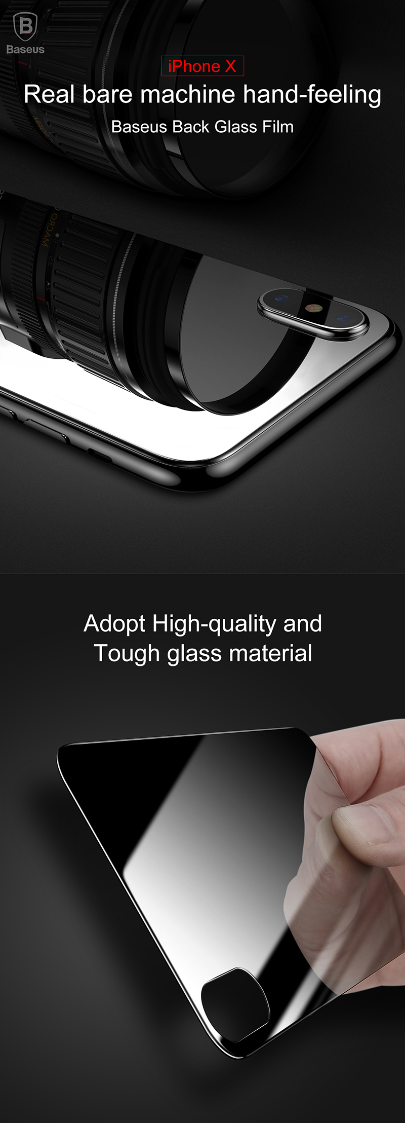 Baseus 0.3mm 9H Arc Edge Back Tempered Glass Film for iPhone X